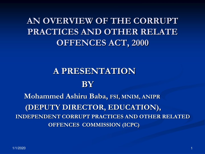 an overview of the corrupt practices and other relate offences act 2000 n.