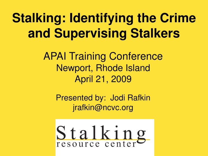 stalking identifying the crime and supervising stalkers n.