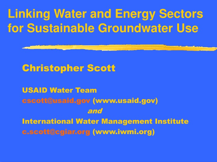 linking water and energy sectors for sustainable groundwater use n.