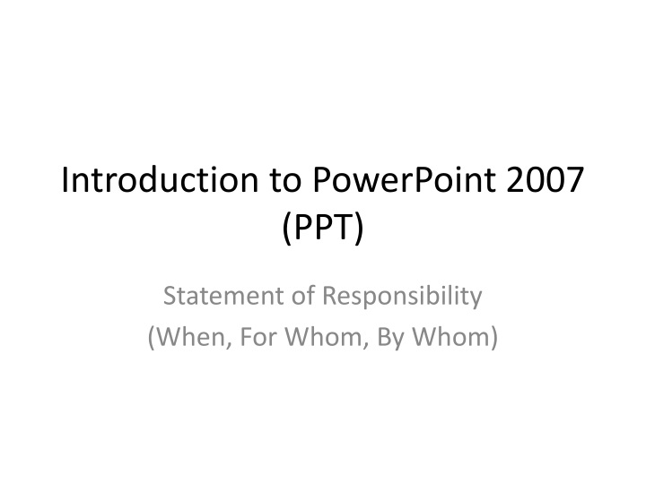 introduction to powerpoint 2007 ppt n.