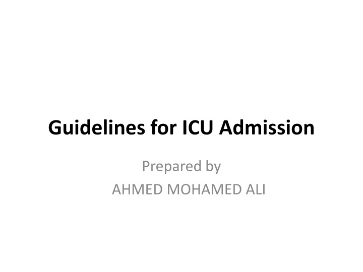 guidelines for icu admission n.