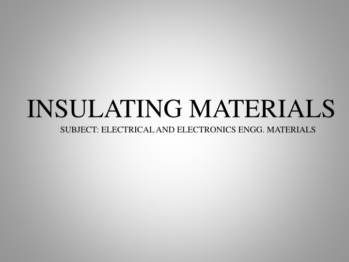 insulating materials subject electrical n.