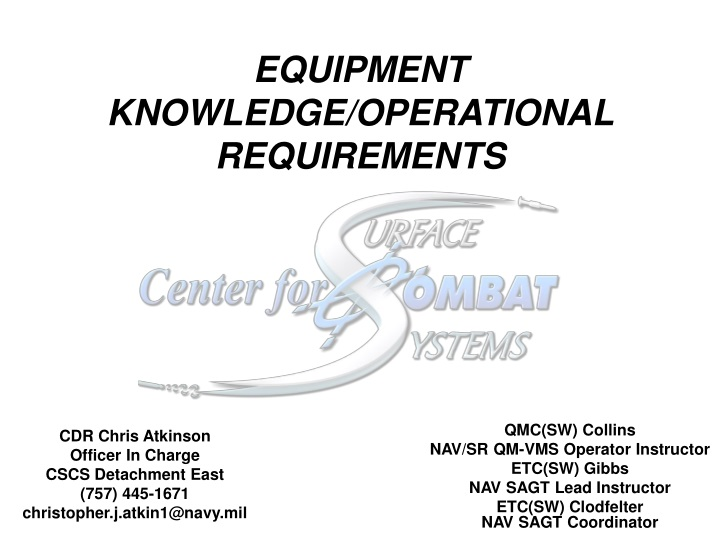 equipment knowledge operational requirements n.