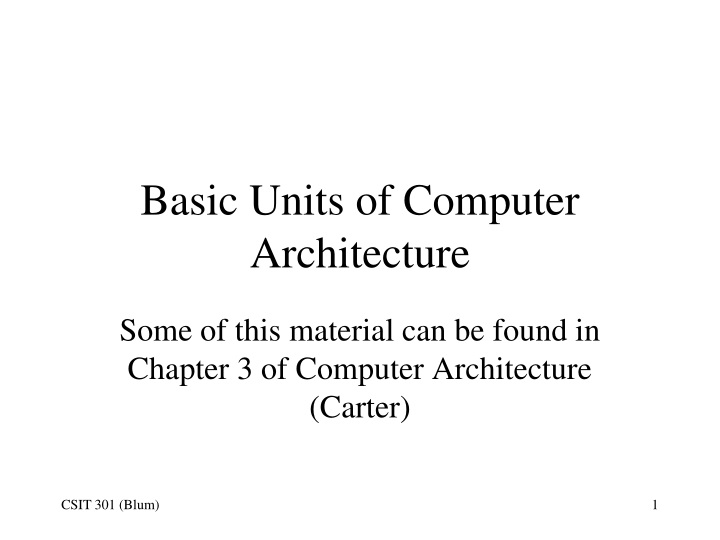 basic units of computer architecture n.