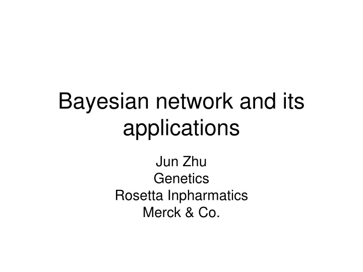 bayesian network and its applications n.