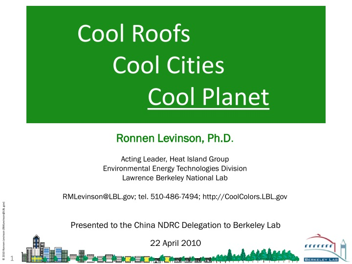 cool roofs cool cities cool planet n.