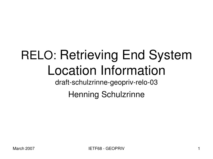 relo retrieving end system location information n.