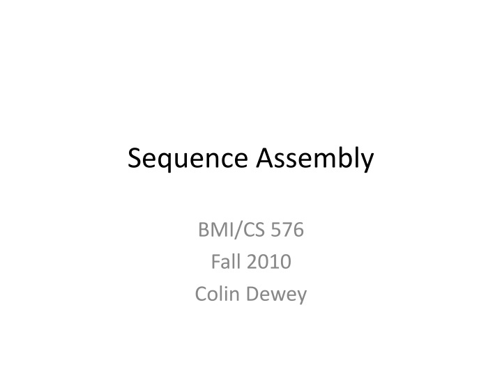 sequence assembly n.