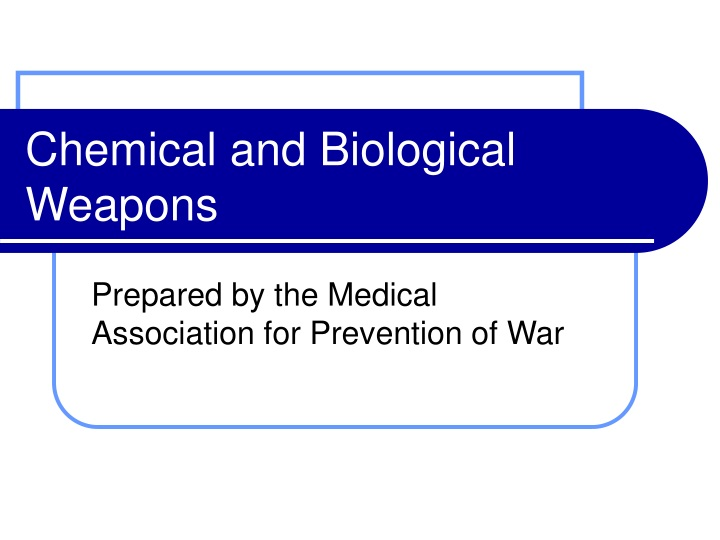 chemical and biological weapons n.