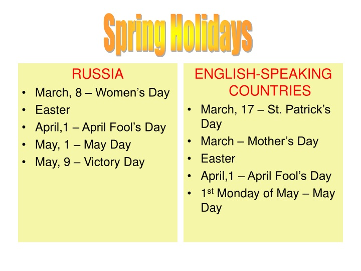 russia march 8 women s day easter april 1 april n.