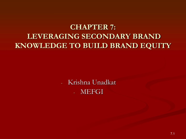 chapter 7 leveraging secondary brand knowledge to build brand equity n.
