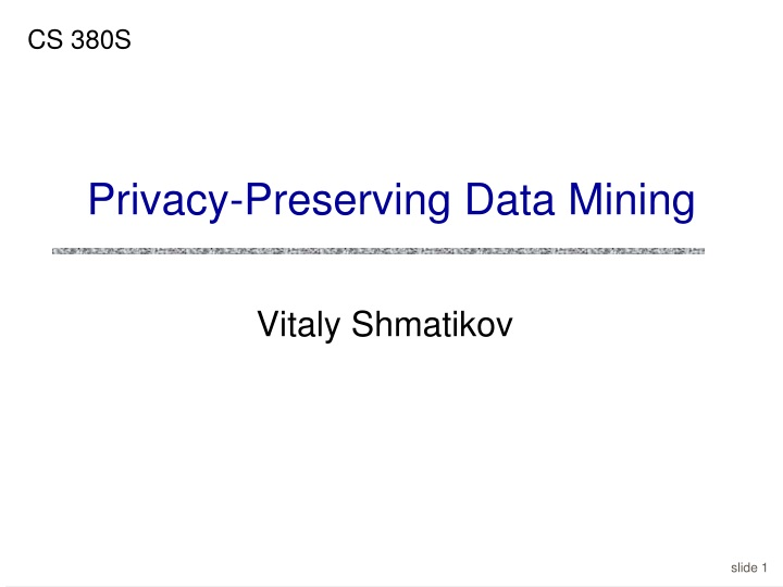privacy preserving data mining n.