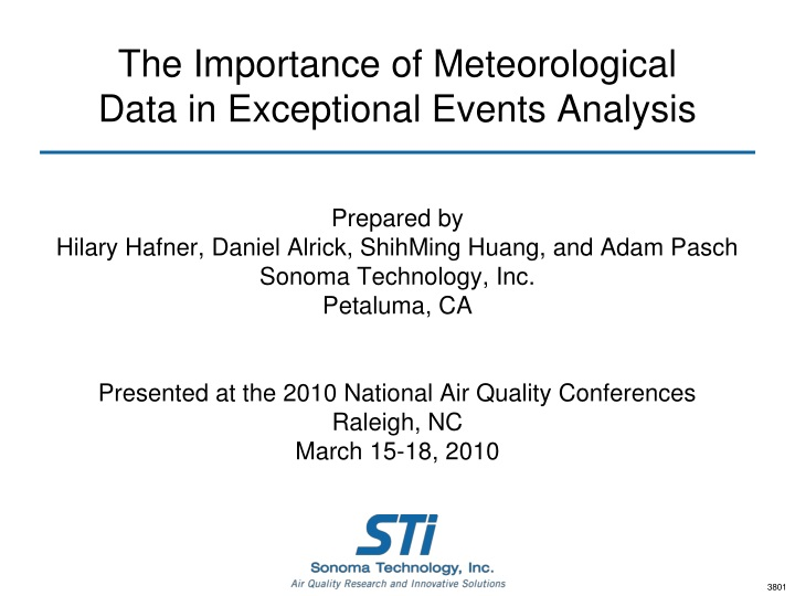 the importance of meteorological data in exceptional events analysis n.