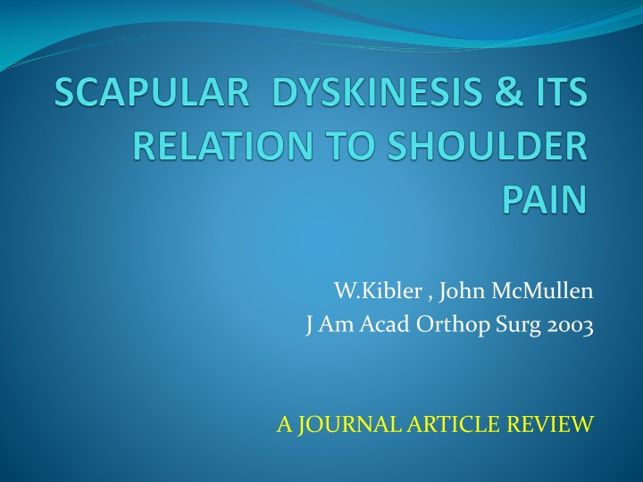 scapular dyskinesis its relation to shoulder pain n.