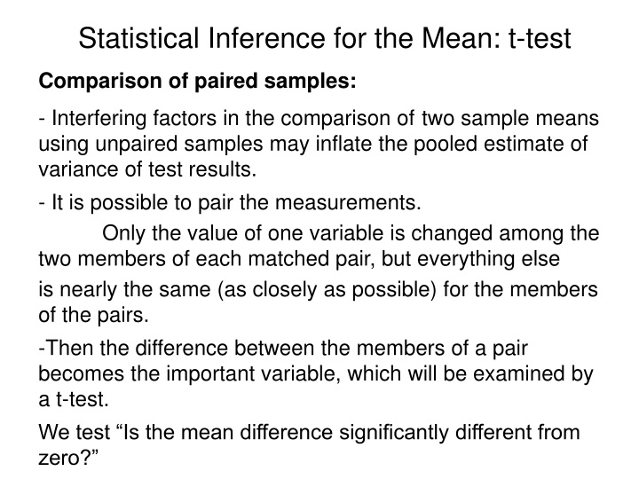 statistical inference for the mean t test n.