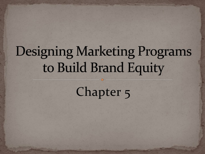 designing marketing programs to build brand equity n.