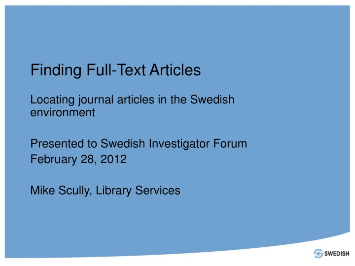 finding full text articles n.