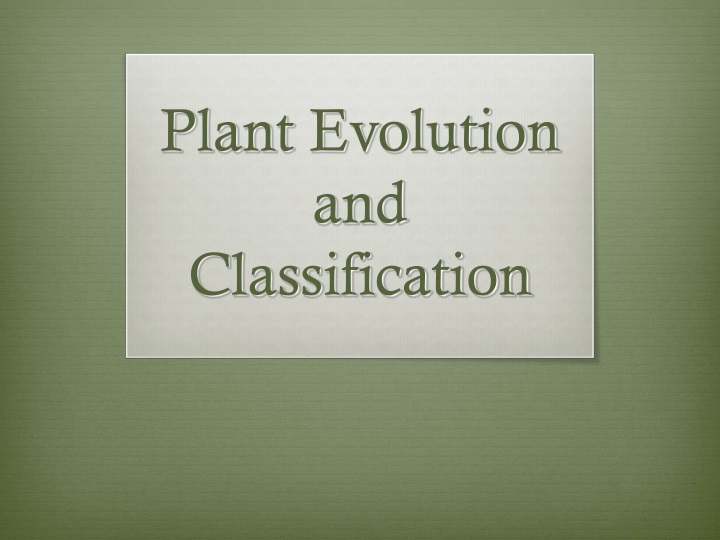 plant evolution and classification n.