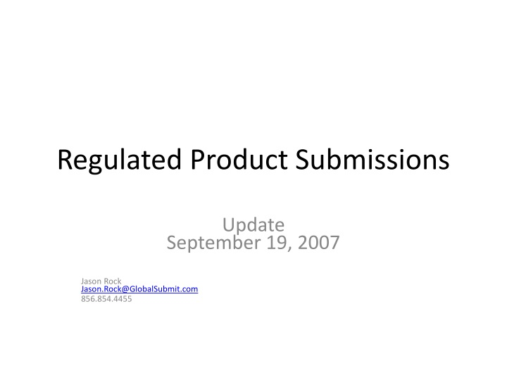 regulated product submissions n.
