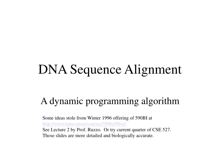 dna sequence alignment n.