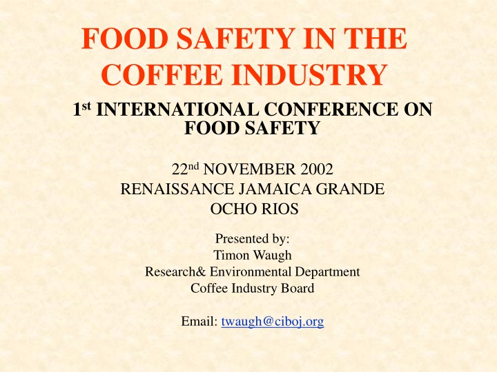 food safety in the coffee industry n.