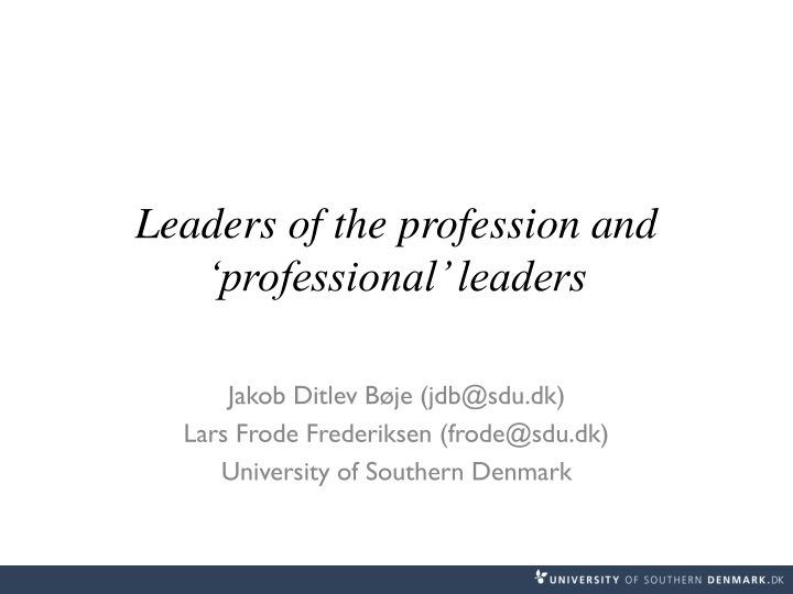 leaders of the profession and professional leaders n.