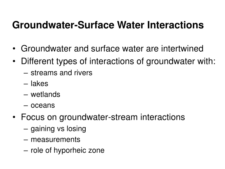 groundwater surface water interactions n.