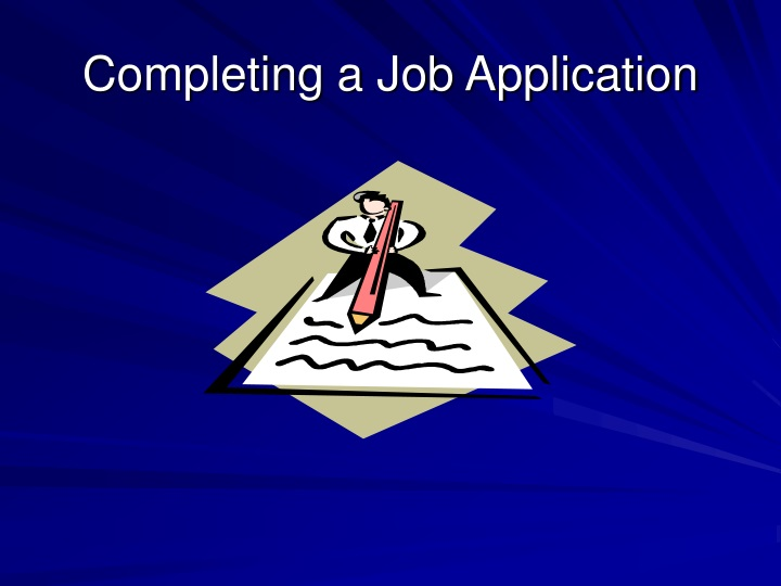 completing a job application n.