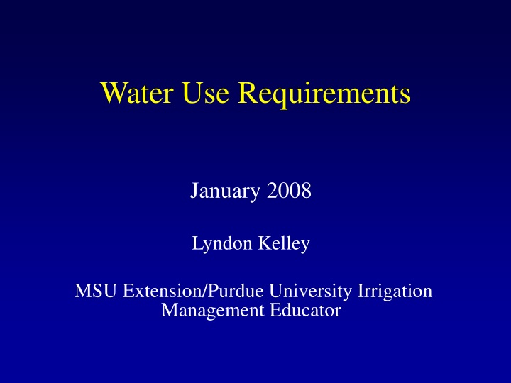 water use requirements n.