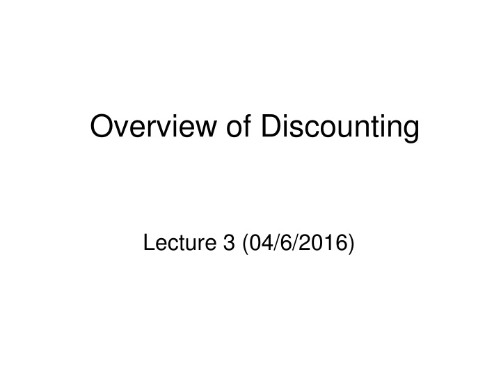 overview of discounting n.
