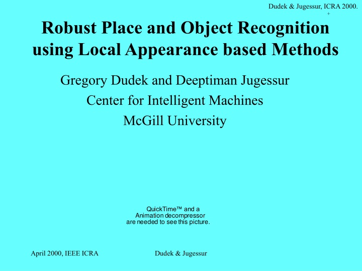 robust place and object recognition using local appearance based methods n.