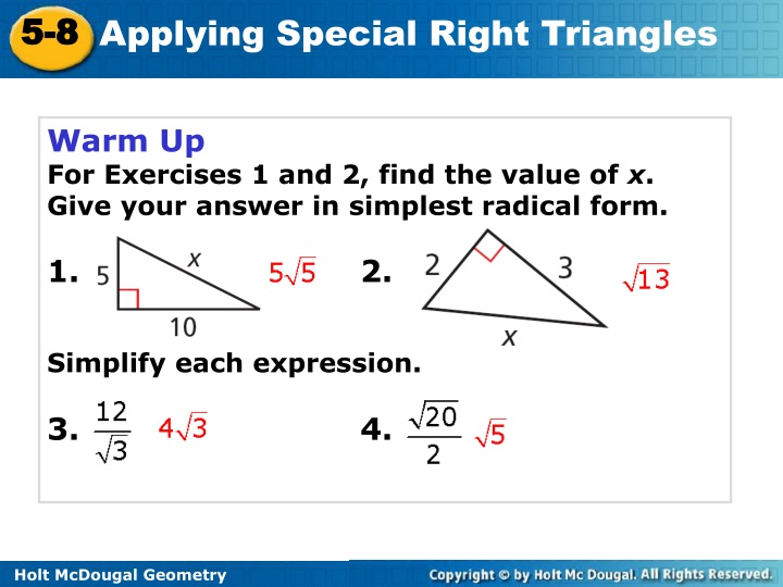 warm up for exercises 1 and 2 find the value n.