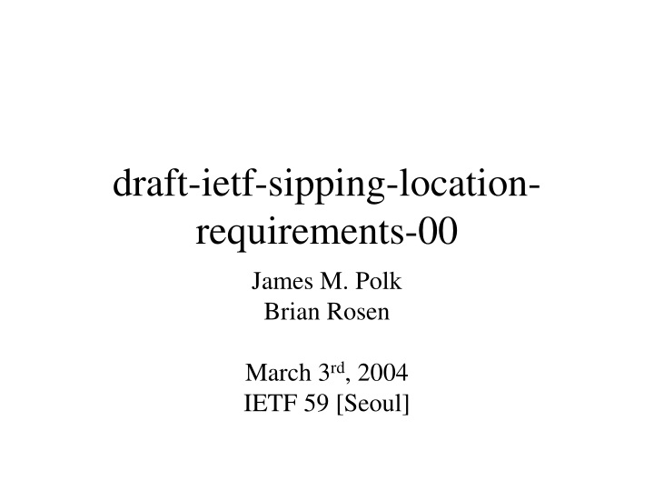draft ietf sipping location requirements 00 n.