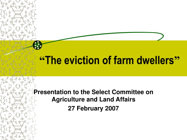 the eviction of farm dwellers n.