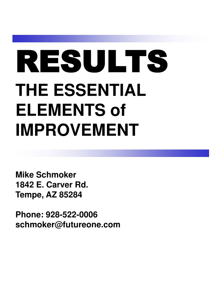 results the essential elements of improvement n.