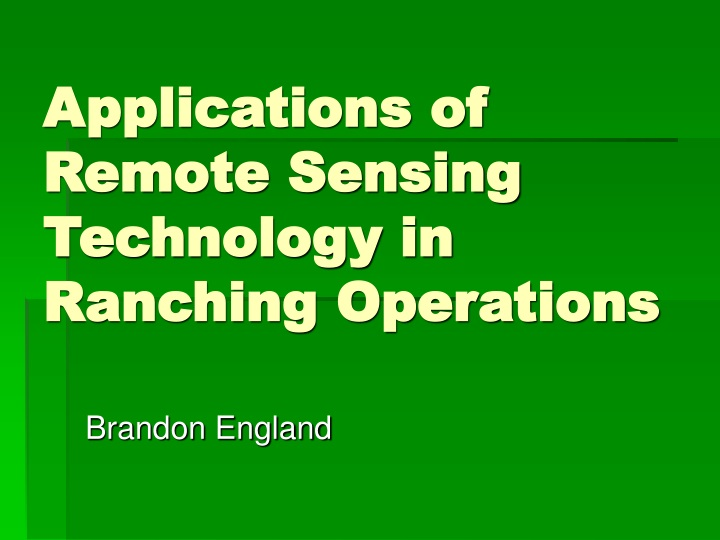 applications of remote sensing technology in ranching operations n.