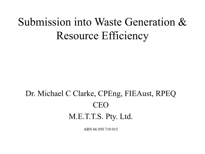 submission into waste generation resource efficiency n.