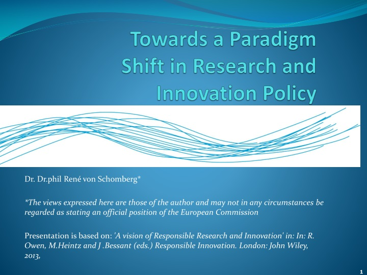 towards a paradigm shift in research and innovation policy n.
