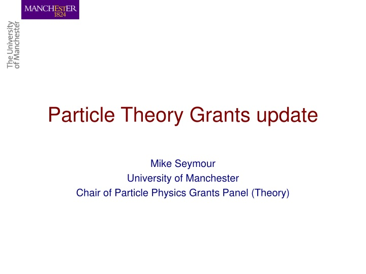 particle theory grants update n.