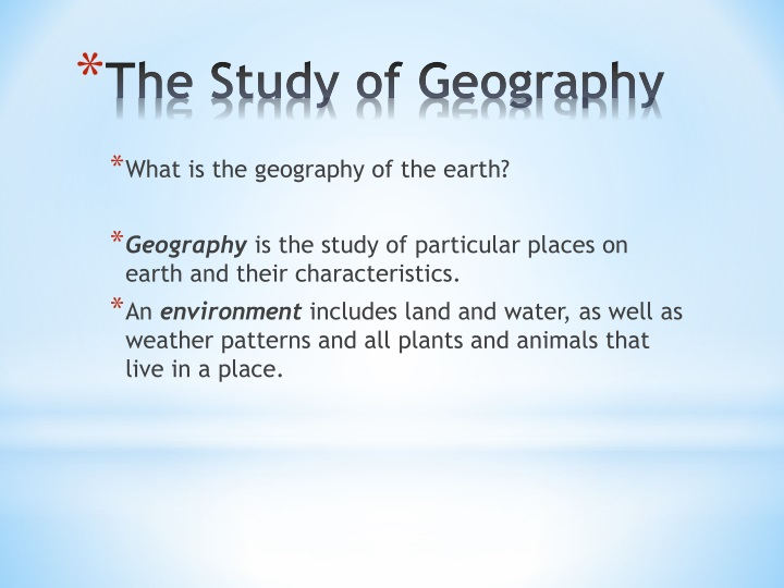 the study of geography n.