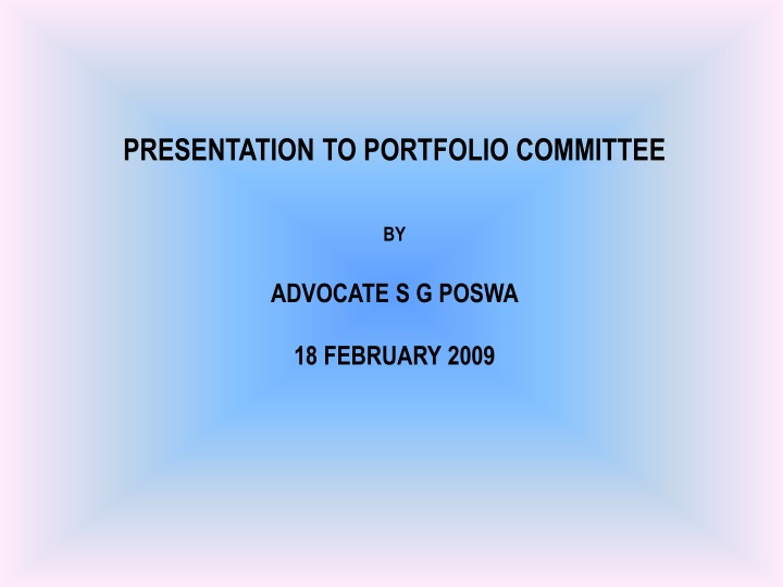 presentation to portfolio committee by advocate n.