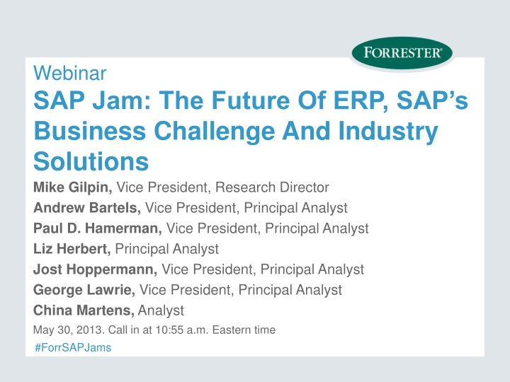 webinar sap jam the future of erp sap s business challenge and industry solutions n.