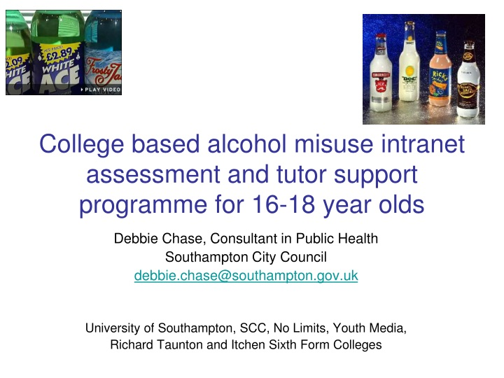 college based alcohol misuse intranet assessment and tutor support programme for 16 18 year olds n.