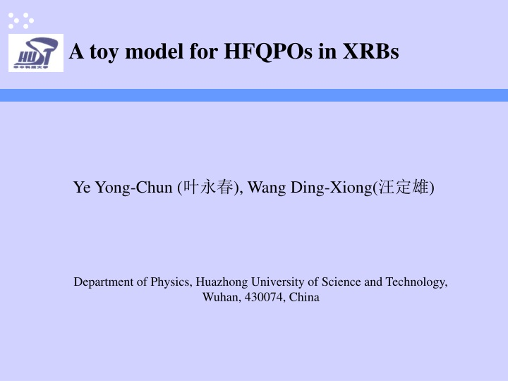 a toy model for hfqpos in xrbs n.