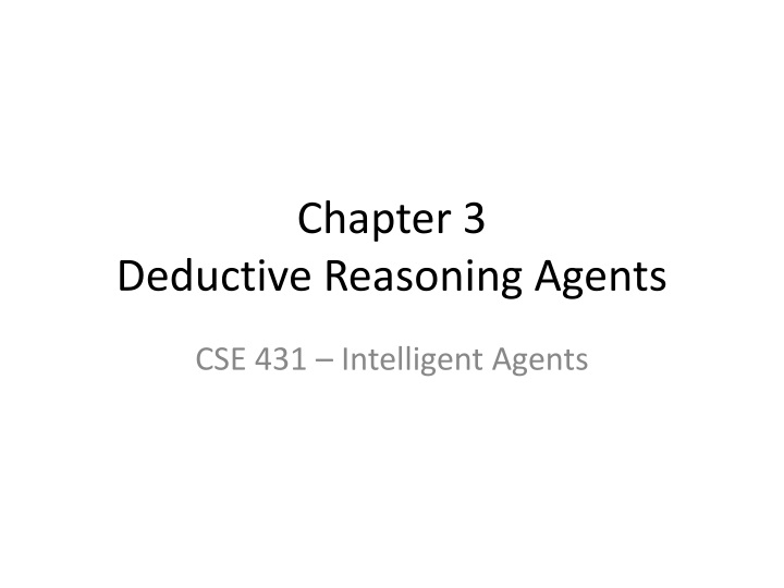 chapter 3 deductive reasoning agents n.