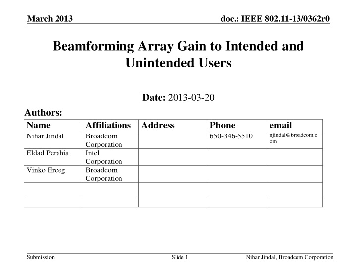 beamforming array gain to intended and unintended users n.