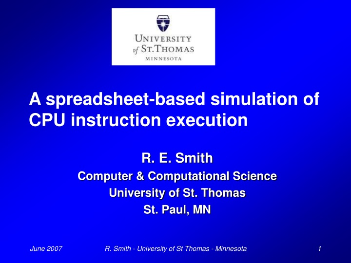 a spreadsheet based simulation of cpu instruction execution n.
