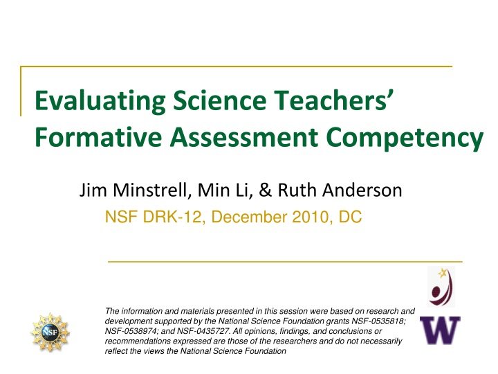 evaluating science teachers formative assessment competency n.