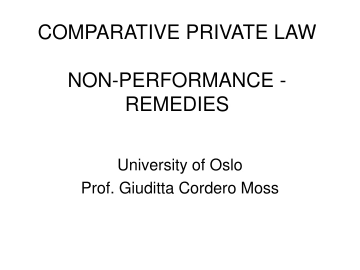 comparative private law non performance remedies n.