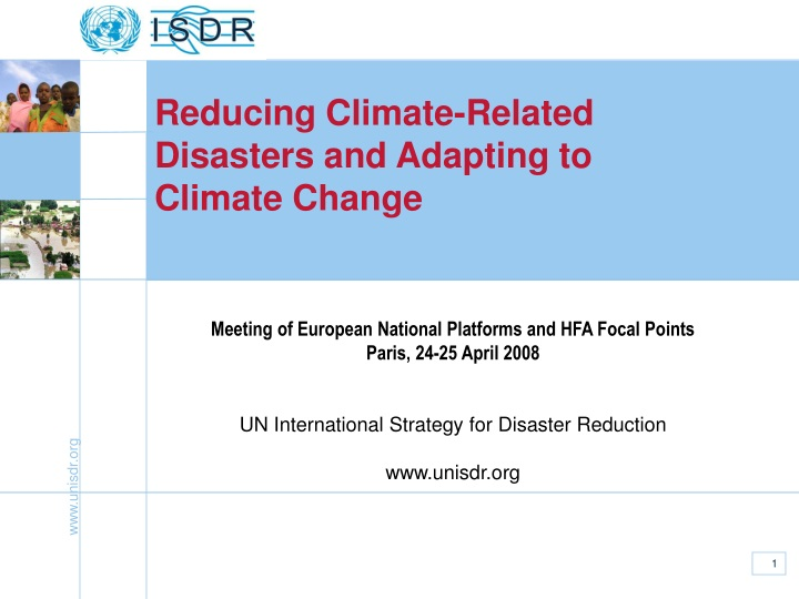 reducing climate related disasters and adapting n.